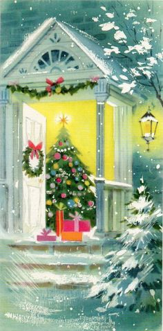 Glittered walking to church in the snow 1950s vintage christmas vintage christmas card open door at christmas m4hsunfo