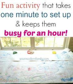 fun activity that takes a minute to set up  keeps kids busy for an hour
