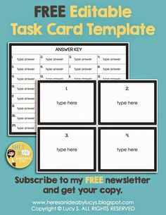 Free blank task card recording sheets need a recording for Blank task card template