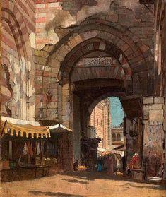 Amelia Peabody, George Henry, Mediterranean Architecture, Fine Art Drawing, Cairo Egypt, Urban Landscape, Egyptian, 19th Century, Elizabeth Peters
