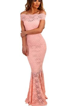 Pink Bardot Lace Fishtail Off The Shoulder Maxi Party Dress #partydresses – ModeShe.com