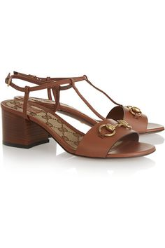 Heel measures approximately 55mm/ 2 inches Brown leather Buckle-fastening ankle strap Made in Italy