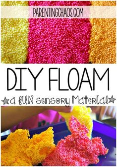 Slimy and fun! With just a few simple ingredients you can now make your own DIY FLOAM at home! With a fool proof recipe and easy technique your kids are bound to love it! Sensory Activities, Sensory Play, Summer Activities, Preschool Activities, Sensory Table, Sensory Bins, Diy Sensory Toys, Calming Activities, Sensory Rooms