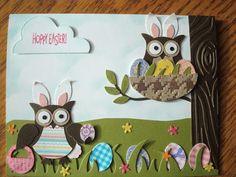 Easter Card – Easter Owl Punch Art w Stampin Up