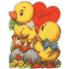 """Vintage Folding Valentine Card featuring two adorable yellow ducks. Front reads, """"Please."""" Card opens to a verse that reads: Oh, how ducky it would be If you were Valentines with me Copyright 1947 by"""