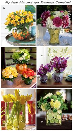 Centerpieces combining fruit & flowers. Keep the submerged fruit from floating:   http://www.ehow.com/how_5446263_make-centerpiece-using-lime-slices.html
