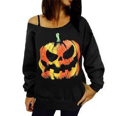 Best seller Women Sexy Halloween Pumpkin Print Long Sleeve Sweatshirt Pullover Tops Off Shoulder camisola