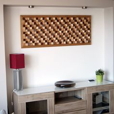 Buy an decorative wall panel made of wood. Original, handmade, eco-friendly sound diffuser art panel made in Greece.