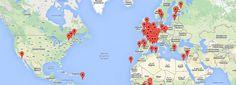 Carte des bibliothèques du monde - Mapa de Bibliotecas del Mundo. Association des Bibliothécaires de France