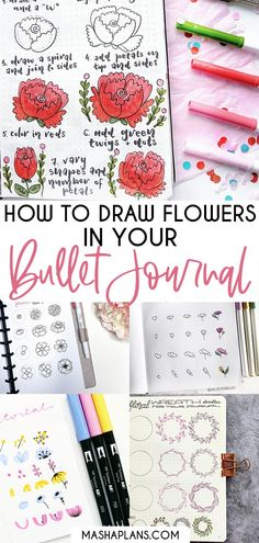 Want to add some beautiful flowers to your Bullet Journal layouts but not sure how to draw? Check out my simple step by step tutorials and recommendations on how to draw flower doodles. I'll let you know how you can teach yourself to draw and where you can get help on your journey. Time to add some cute Bullet Journal doodles to your planner! #mashaplans #tutorial #bulletjournal #flowers #bujojunkies