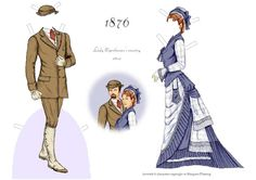 Marianna & Archibald, 1876, Country Attire:  A Fashionable Couple of the 1870s paper dolls by Margaret Fleming | Gabi's Paper Dolls