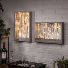 Lighted Branch Wall/Table Decor - Vertical - Wood Decor on the Left in Photo Branch Art, Branch Decor, Diy Wall Art, Wood Wall Art, Diy Wanddekorationen, Lighted Branches, Fairy Lights, Rustic Decor, Farmhouse Decor