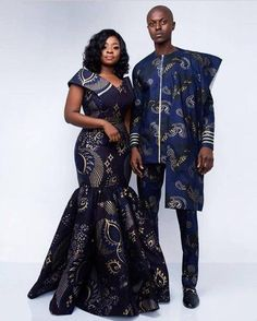 Image may contain: 2 people, people standing Latest African Fashion Dresses, African Dresses For Women, African Print Dresses, African Print Fashion, African Attire, African Wear, African Traditional Wedding Dress, Traditional Outfits, Couples African Outfits