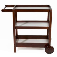 Dark and glossy brown coated wood bar cart with front wheels only