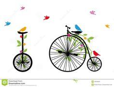 birds-retro-bicycle-vector-illustration-26924843.jpg (1300×1000)