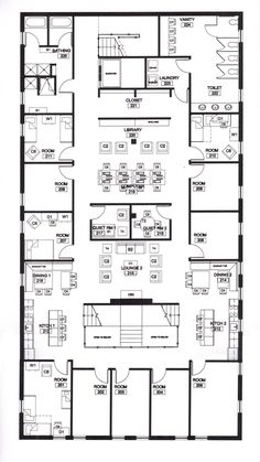 Hotel Floor Plan, House Floor Plans, Dorm Room Layouts, 10 Year Plan, Castle Project, Sims 4 House Design, Mansion Designs, Shelter Design, Schematic Design