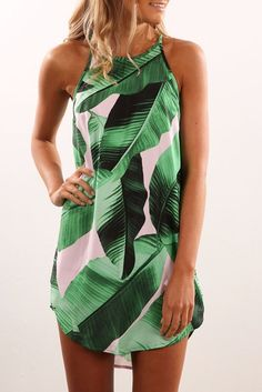 Adogirl Cheap Green Leaf Print Mini Dress O Neck Sleeveless Casual Bohemian Summer Dresses Women Fashion Beach Dress Vestidos. Short Sundress, Very Short Dress, Short Dresses, Summer Dresses, Mini Dresses, Halter Dresses, Dresses Dresses, Floral Dresses, Girls Dresses