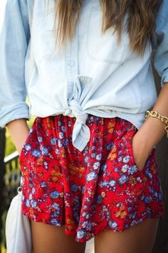 chambray shirt with pink and blue floral skirt