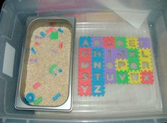 ABC center - find letters in rice and complete puzzle