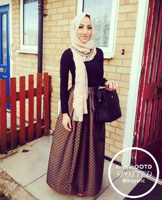 Love this skirt SPOTTED : The Green Brocade Maxi Skirt elegantly styled for the occasion of Eid. Modest Outfits, Modest Fashion, Hijab Fashion, Fashion Outfits, Fashion Skirts, Muslim Women Fashion, Islamic Fashion, Hijabs, Hijab Look