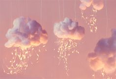 Cute Little Strom Clouds Made From Cotton Balls And Pieces Of Plastic Or String <3