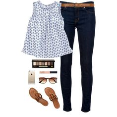 A fashion look from July 2014 featuring J Brand jeans, Tory Burch sandals and Dorothy Perkins belts. Browse and shop related looks.
