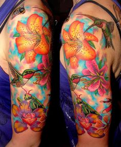 Flower and hummingbird half sleeve tattoo - 55 Amazing Hummingbird Tattoo Designs | Art and Design