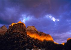 Storm Light on Zion Cliffs, Zion National Park, Utah    Entrance to Zion Canyon