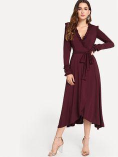 8cb4861954491 Surplice Front Frill Dress -SheIn(Sheinside) Frill Dress, Sequin Dress,  Surplice