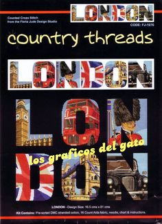 Bonito gráfico de letras con escenas típicas de Londres...