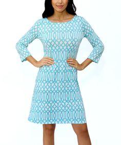 Blue & White Geometric Three-Quarter Sleeve Shift Dress by Modern Touch #zulily #zulilyfinds