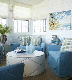 House Of Turquoise Tracery Interiors Floor To Ceiling Painted Wood Paneled  Sunroom As Living Room