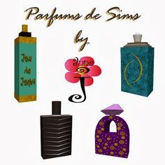 """""""Parfums de Sims"""". A set of 4  decorative bottles of perfume is coming up  soon. """"Parfums de Sims"""" . Ensemble de 4 bouteilles de parfum déco..."""