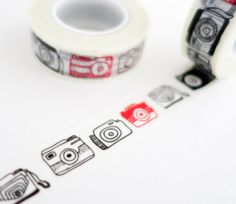 Camera washi tape - perfect for travel journals and scrapbooking!  http://www.maigocute.com/collections/washi-tape/products/red-and-black-cameras-travel-washi-tape