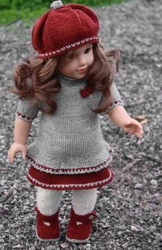 Lovely doll knitting pattern to your Baby born