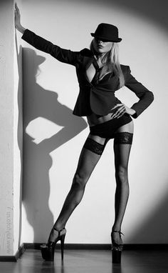 boudoir 20s tommy gun mobster look with garters and thigh high stockings