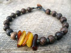 Mens surfer bracelet baltic amber wood and door thehappymushroom