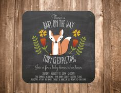 Woodland Fox Baby Shower Invitation Chalkboard by papernpeonies, $15.00