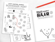 go on a happy scavenger hunt inside the Happy Hunting Journal / zenteredkids.com Draw Your, Hunting, Challenges, Bullet Journal, Feelings, Happy, Cards, Fun, Gifts