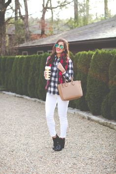 buffalo plaid shirt jacket, buffalo plaid excursion vest, check excursion vest, quilted vest, kate spade thermal mug, holiday look, holiday outfit ideas, preppy holiday outfits // grace wainwright from a southern drawl