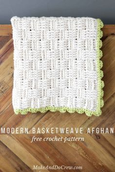 """Squishy yarn heaven! This free crochet basket weave blanket pattern is blooming with texture and makes a perfect lapghan-sized afghan. Made with Lion Brand Wool-Ease Thick & Quick in """"Fisherman"""" and Hometown USA in """"Monteray Bay.""""   MakeAndDoCrew.com"""