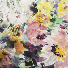Watercolours Cotton Lawn- yellow pink