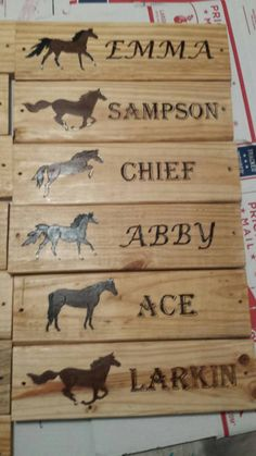 Personalized custom horse stall sign wood burnt by AmanteJewelry