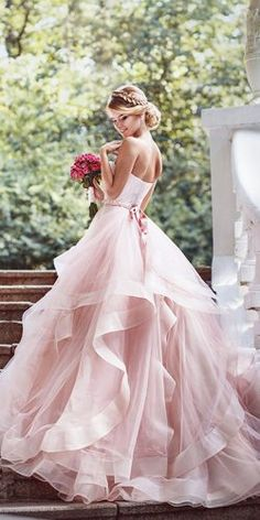 Unique Prom Dresses, Tiers Ruffle Sweetheart Blushing Pink Sleeveless Organza Backless Wedding Dresses, There are long prom gowns and knee-length 2020 prom dresses in this collection that create an elegant and glamorous look Pink Wedding Dresses, Princess Wedding Dresses, Bridal Dresses, Prom Dresses, Stunning Wedding Dresses, Dress Wedding, Lace Wedding, Elegant Wedding, Wedding Ceremony