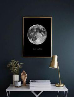 82 Cozy Bedroom Ideas With Shooting Color Print Moon, Cozy Bedroom, Bedroom Decor, Bedroom Ideas, Art Mural, New Room, Decor Interior Design, Wall Prints, Printable Wall Art