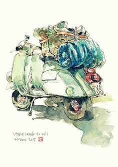 Vespa A traveling Vespa with luggage Watercolor Artwork, Watercolor Flowers, Watercolor Cards, Vespa Illustration, Guy Drawing, Urban Sketching, Traditional Art, Decoupage, Art Drawings