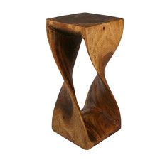 Strata Furniture Thai Hand Carved Twist End Table