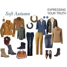 """Soft Autumn"" by expressingyourtruth on Polyvore So many capsule wardrobes center around semi-formal clothing. This is a great casual combination that could be a wardrobe for a season or (with a few less shoes) an interesting combination for a fall/winter vacation. #newyearstylechallenge"