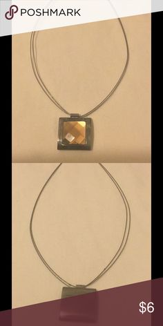 "Dark greytone pendant with a dark golden stone. 🔥 Square pendant with a dark golden topaz colored stone. This necklace measures at approximately 15"". Really pretty! Jewelry Necklaces"