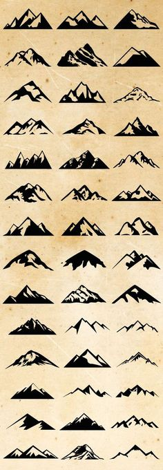Check out Mountain Shapes For Logos Bundle by lovepower on Creative Market // Montagnes graphisme simplifié 1 Tattoo, Tatoo Art, Piercing Tattoo, Get A Tattoo, Tattoo Skin, Tattoo Fonts, Doodle Tattoo, Shape Tattoo, Sketch Tattoo